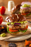 Homemade Healthy Turkey Burgers. With Lettuce and Tomato Royalty Free Stock Photography