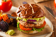 Homemade Healthy Turkey Burgers. With Lettuce and Tomato Stock Photos