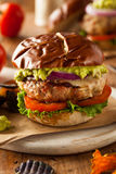 Homemade Healthy Turkey Burgers. With Lettuce and Tomato Stock Image
