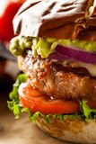 Homemade Healthy Turkey Burgers. With Lettuce and Tomato Stock Photography