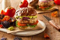 Homemade Healthy Turkey Burgers Stock Photos
