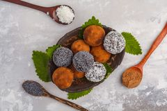 Homemade Healthy vegan Raw Energy Balls with carob, a poppy and