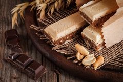 Homemade healthy waffer. Rustic Stock Photos
