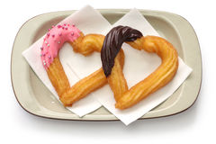 Homemade heart shape churro Stock Images