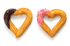 Homemade heart shape churro. Valentines day dessert Royalty Free Stock Image