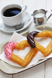 Homemade heart shape churro Stock Photo