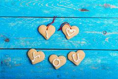 Homemade heart shape cookies on blue background, words I LOVE YO Royalty Free Stock Photo
