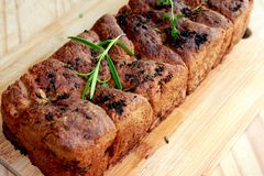Homemade herbal bread. Healthy bread stock images