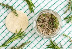 Free Homemade Herbal Scrub Foot Soak Or Bath Salt With Rosemary, Thyme, Sea Salt And Olive Oil. Natural Skin And Hair Care. Stock Image - 144281091