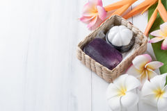 Homemade herbal soap extracts from mangosteen in gift box. Healthy care concept Stock Image
