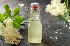 Homemade herbal syrup made from elder flowers stock photography