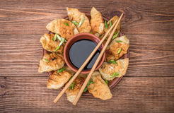 Homemade сhicken potstickers with soy sauce. Stock Photos