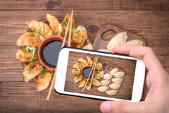 Homemade сhicken potstickers with soy sauce. Stock Photography