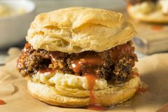Homemade Honey Butter Chicken Biscuit. With Hot Sauce Royalty Free Stock Photos