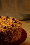 Homemade honey cake with nuts and spices. Stock Image