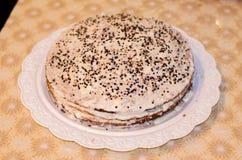 Homemade honey cake with sour cream Stock Photo