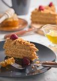 Homemade honey cake with tea. And berries Stock Photo