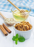 Homemade honey cinnamon granola. In a bowl Royalty Free Stock Photo