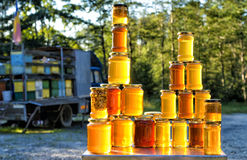 Homemade honey on the street market in Romania Royalty Free Stock Images