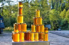 Homemade honey on the street market in Romanian mountains stock images