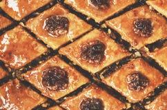 Homemade honey and walnut baklava - traditional oriental dessert. Homemade honey and walnut baklawa - traditional oriental sweet food Royalty Free Stock Photos
