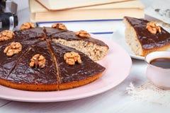 Homemade honey walnut pie Stock Images