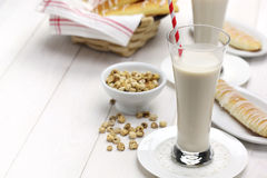 Homemade horchata and fartons. Stock Photo