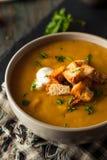 Homemade Hot Butternut Squash Soup Stock Photos