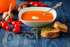 Homemade Hot Butternut Squash Soup with Toppings Stock Photo