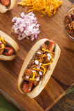 Homemade Hot Chili Dog with Cheddar Cheese. And Onions royalty free stock images