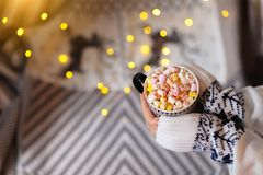 Homemade hot chocolate with marshmallows in female hands.  royalty free stock images