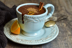 Homemade hot chocolate with orange and cinnamon. Royalty Free Stock Image