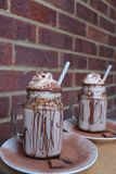 Homemade hot chocolate, with whipped cream and chocolate powder toppings. stock images