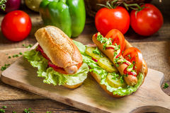 Homemade hot dog with mustard and ketchup Stock Photos