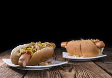 Homemade Hot Dog with onions and sauces Royalty Free Stock Photography