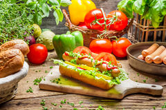 Homemade hot dog with sausage and vegetables Royalty Free Stock Images