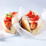 Homemade hot dogs Stock Photos
