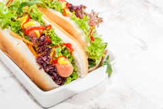Homemade hot dogs Stock Photography