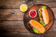 Homemade hot dogs Stock Photo