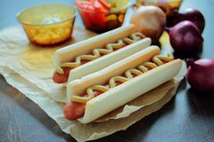 Homemade hot dogs Stock Image