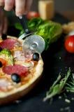 Homemade hot pizza Stock Photos