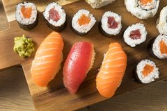 Homemade Huge Sushi Platter royalty free stock images
