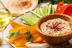 Homemade hummus with assorted fresh vegetables and pita bread. Healthy homemade hummus with assorted fresh vegetables and pita bread Royalty Free Stock Photography