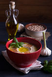Homemade hummus with basil, garlic and olive oil Royalty Free Stock Images