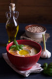 Homemade hummus with basil, garlic and olive oil Royalty Free Stock Photo