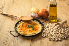 Homemade hummus with garlic and onions paprika Stock Image