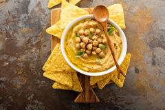 Homemade hummus with tortilla chips. Overhead shot Stock Photography