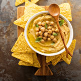 Homemade hummus with tortilla chips Royalty Free Stock Photos