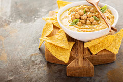 Homemade hummus with tortilla chips. Small appetizers Stock Image