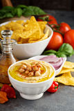 Homemade hummus in a white bowl Royalty Free Stock Photography